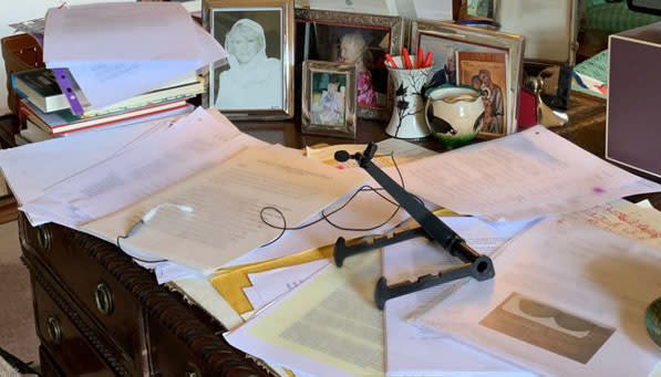 Scattered papers sit around the royal's desk. (Clarence House/Global)