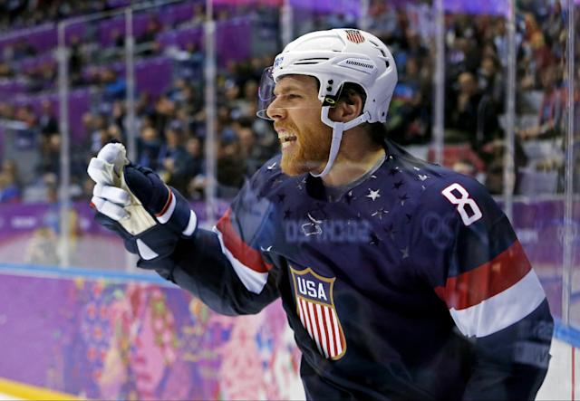 USA forward Joe Pavelski reacts after scoring a second period goal against Russia during a men's ice hockey game at the 2014 Winter Olympics, Saturday, Feb. 15, 2014, in Sochi, Russia