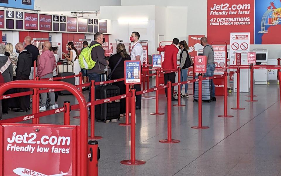 Jet2 check in at Stansted - Emma Featherstone