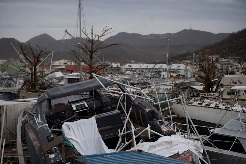 Wrecked boats line the  Geminga shipyard in Saint Martin after Hurricane Irma.  Officials on the island of Guadeloupe, where French aid efforts are being coordinated, suspended boat crossings to the hardest-hit territories of St Martin and St Barts