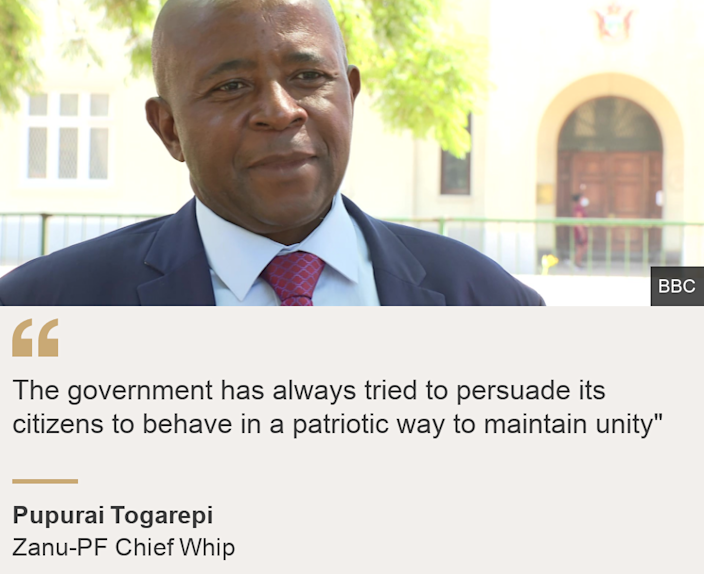"""""""The government has always tried to persuade its citizens to behave in a patriotic way to maintain unity"""""""", Source: Pupurai Togarepi , Source description: Zanu-PF Chief Whip, Image:  Pupurai Togarepi"""