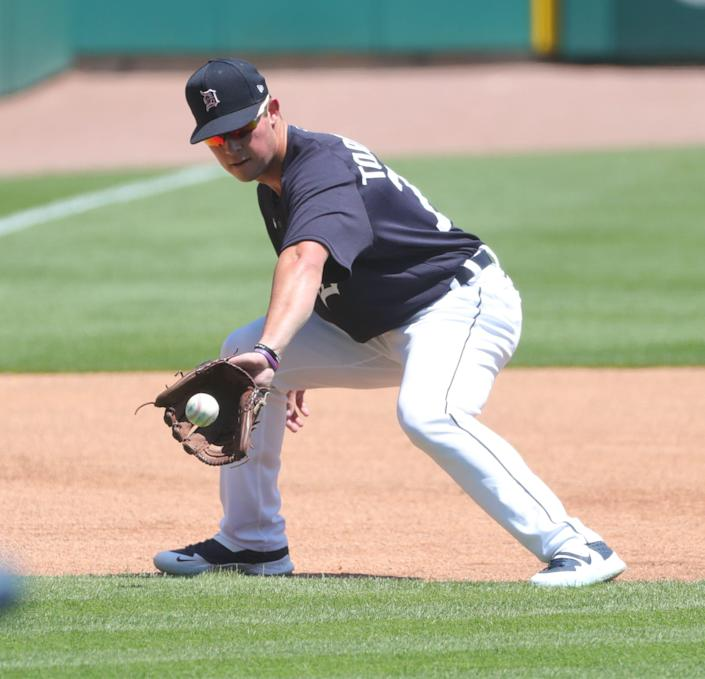 No. 1 draft pick Spencer Torkelson fields ground balls at third base during Detroit Tigers workouts at Comerica Park on July 4, 2020.