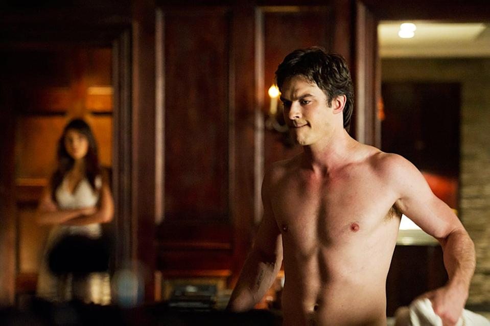 """<p>Two brawling vampire brothers, Stefan and Damon, fall for the mortal girl Elena in <strong>The Vampire Diaries</strong>, and racy drama ensues. Their relationships with one another take all kinds of twists and turns throughout the series' six-season run. </p> <p><a href=""""http://www.netflix.com/title/70143860"""" class=""""link rapid-noclick-resp"""" rel=""""nofollow noopener"""" target=""""_blank"""" data-ylk=""""slk:Watch The Vampire Diaries on Netflix now"""">Watch <strong>The Vampire Diaries</strong> on Netflix now</a>.</p>"""