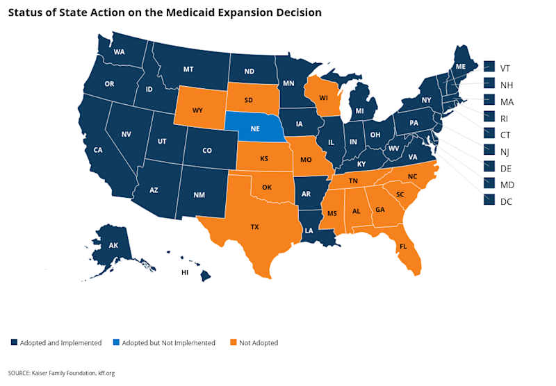 36 states and D.C. have adopted the Medicaid expansion. (Chart: Kaiser Family Foundation)