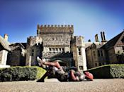 """<p>Reynolds took his suit out for a spin on June 17, writing on Instagram: """"Dropped by X-Mansion. Looked closely for Beast's lawn bombs before taking well deserved nap."""" (Photo: <a href=""""https://www.instagram.com/p/BVc-oWajSzK/"""" rel=""""nofollow noopener"""" target=""""_blank"""" data-ylk=""""slk:vancityreynolds/Instagram"""" class=""""link rapid-noclick-resp"""">vancityreynolds/Instagram</a>) </p>"""