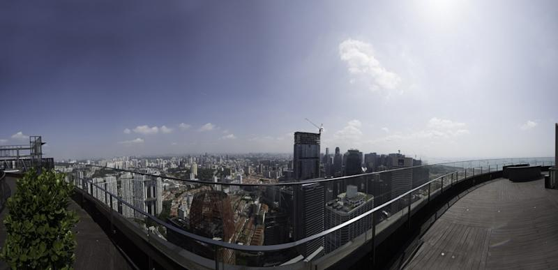 Uninterrupted 360-degree views from the roof terrace of SkySuites@Anson