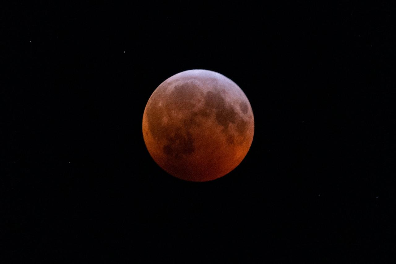 <p>2019 Total Lunar Eclipse, Super Blood Wolf Moon, as seen in the sky of Toronto on Sunday, January 20, 2019. THE CANADIAN PRESS IMAGES/Dominic Chan </p>