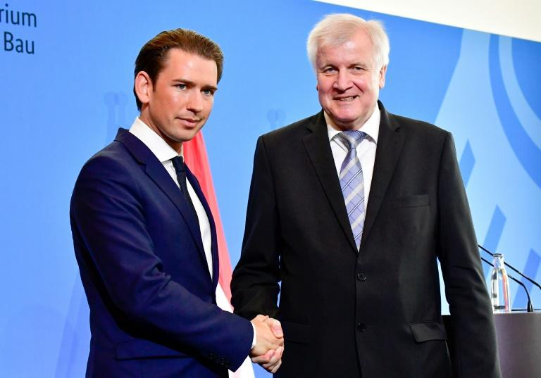 "Austrian Chancellor Sebastian Kurz (left) meets German Interior Minister Horst Seehofer, hailing an ""axis of the willing"" along with Italy determined to take a hardline on migration"