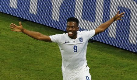 England's Daniel Sturridge celebrates after scoring a goal during their 2014 World Cup Group D soccer match against Italy at the Amazonia arena in Manaus June 14, 2014. REUTERS/Andres Stapff