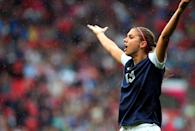 Alex Morgan of United States reacts during the Women's Football first round Group G match between the United States and DPR Korea,on Day 4 of the London 2012 Olympic Games at Old Trafford on July 31, 2012 in Manchester, England. (Photo by Stanley Chou/Getty Images)