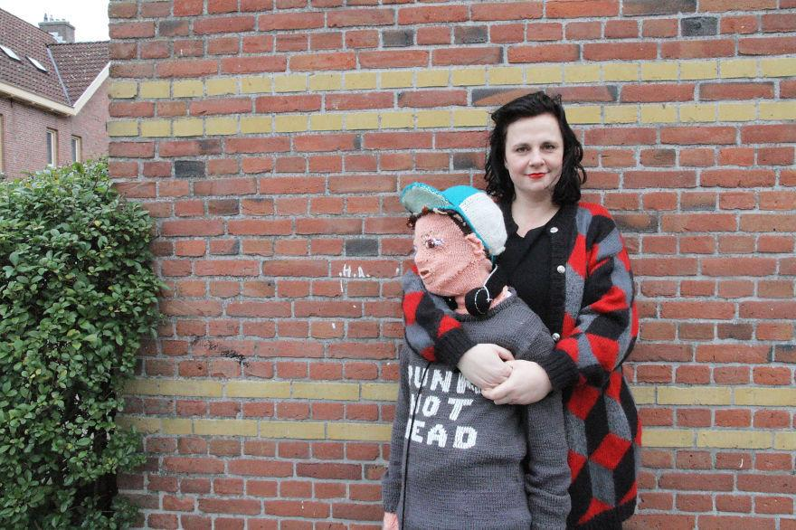 """<p>Marieke Voorsluijs, a textile designer and <a href=""""http://www.boredpanda.com/knitted-son-club-geluk/"""">self-proclaimed knitter</a> of """"<a href=""""http://www.clubgeluk.nl/english/show_categorie.php?catid=47&catnaam=Handmade+products#mainmenu6"""">unknittable things</a>,"""" has always had a close relationship with her sons. But as her eldest reached his teens and grew out of the cuddly phase parents love, she took matters into her own two crafty hands and knitted a replica that wouldn't tell her she was embarrassing him. <i>(Photo: <a href=""""https://www.facebook.com/clubgeluk/photos_stream"""">Facebook</a>)</i><br /></p>"""