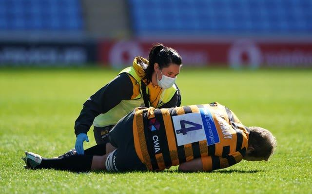 Joe Launchbury receives medical attention