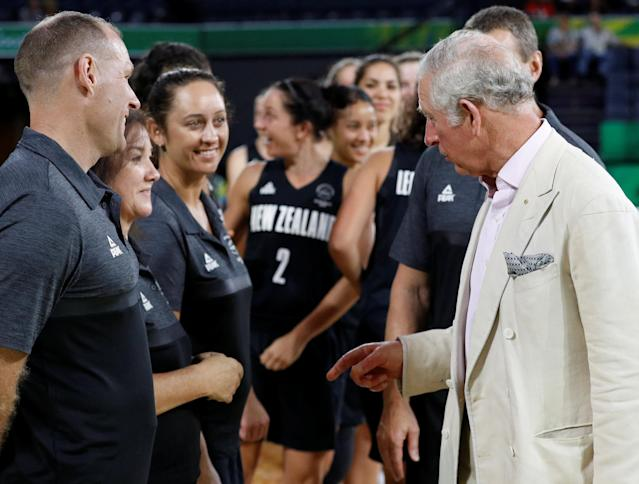 Britain's Prince Charles, meets the teams after watching a women's Commonwealth Games basketball game between New Zealand and India, in Cairns, Australia April 8, 2018. REUTERS/Phil Noble/Pool