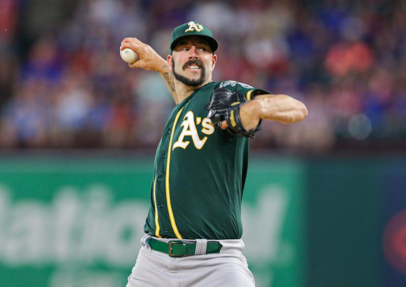 Sep 14, 2019; Arlington, TX, USA; Oakland Athletics starting pitcher Mike Fiers (50) throws against the Texas Rangers at Globe Life Park in Arlington. Mandatory Credit: Andrew Dieb-USA TODAY Sports