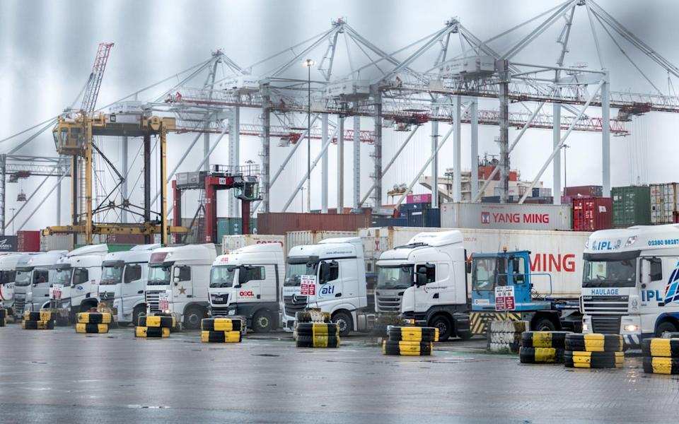 Lorries wait for their loads at Southampton Docks - Matt Cardy/Getty Images Europe