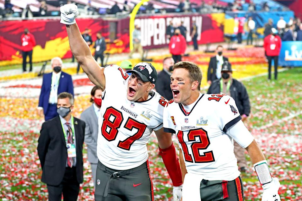 Tampa Bay Buccaneers quarterback Tom Brady (12) and tight end Rob Gronkowski celebrate after beating the Kansas City Chiefs, 31-9, in Super Bowl LV at Raymond James Stadium in Tampa, Fla. on Feb. 7, 2021.