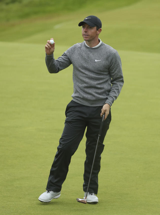 Northern Ireland's Rory McIlroy celebrates after getting a birdie on the 11th hole during the second round of the British Open Golf Championships at Royal Portrush in Northern Ireland, Friday, July 19, 2019.(AP Photo/Jon Super)
