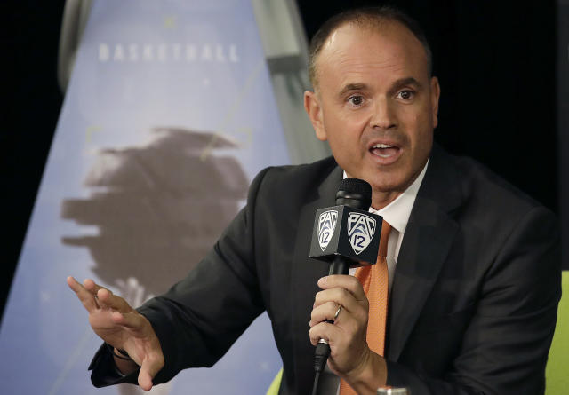 Oregon State head coach Scott Rueck speaks during NCAA college basketball Pac-12 women's media day in San Francisco, Wednesday, Oct. 10, 2018. (AP Photo/Jeff Chiu)
