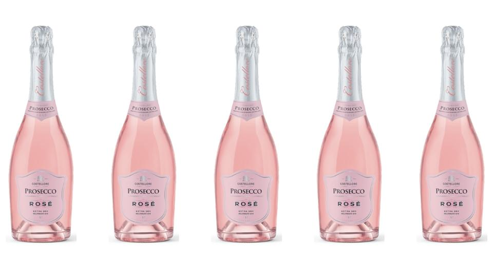 Aldi's rosé prosecco (pictured) will retail for £6.49 a bottle (Aldi)