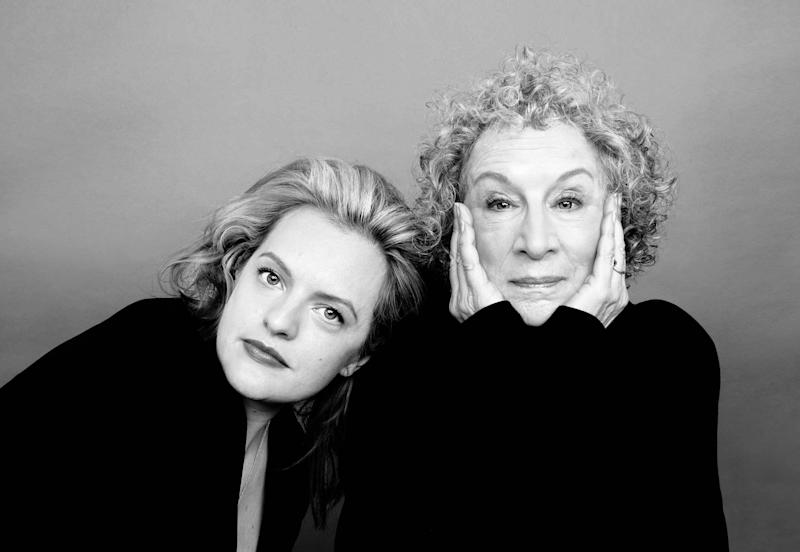 Portrait of Elisabeth Moss and Margaret Atwood shot at the Time Inc. Photo Studios in New York, March 18, 2017.