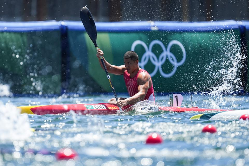 <p>TOKYO, JAPAN - AUGUST 03: Zhang Dong of China competes in the Men's Kayak Single 1000m Final A on day eleven of the Tokyo 2020 Olympic Games at Sea Forest Waterway on August 3, 2021 in Tokyo, Japan. (Photo by Ni Minzhe/CHINASPORTS/VCG via Getty Images)</p>