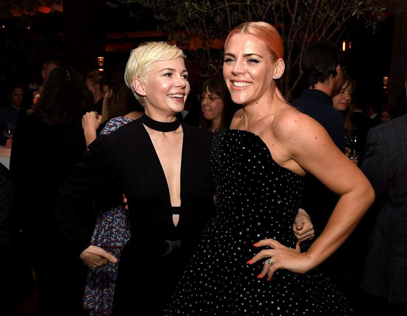"LOS ANGELES, CA - APRIL 17: Actors Michelle Williams (L) and Busy Philipps pose at the after party for the premiere of STX Films' ""I feel Pretty"" at Baltaire Restaurant on April 17, 2018 in Los Angeles, California. (Photo by Kevin Winter/Getty Images)"