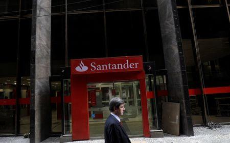 A man walks past a Banco Santander branch in downtown Rio de Janeiro, Brazil January 29, 2018. Picture taken January 29. REUTERS/Ricardo Moraes