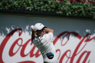Rory McIlroy hits off the first tee during practice at the Tour Championship golf tournament on Wednesday, Sept. 1, 2021, at East Lake Golf Club in Atlanta. (AP Photo/Brynn Anderson)