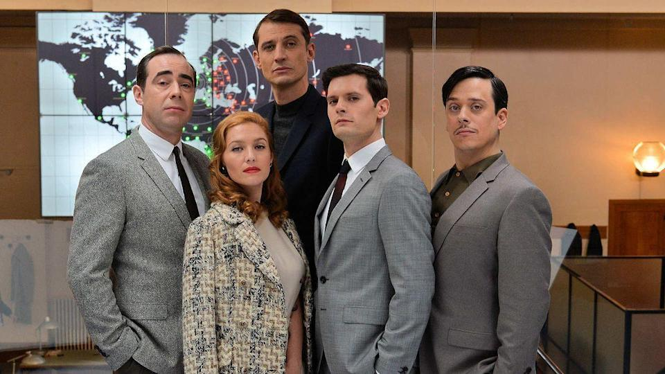 """<p>Mix James Bond with a satirical workplace drama, and you'll arrive at this series about French intelligence officers in the 1960s. Twenty-something newcomer André Merlaux is pulled into a world of Cold War hijinks and <em>Mad Men</em>-worthy costumes. </p><p><a class=""""link rapid-noclick-resp"""" href=""""https://www.netflix.com/title/80097771"""" rel=""""nofollow noopener"""" target=""""_blank"""" data-ylk=""""slk:Watch Now"""">Watch Now</a></p>"""