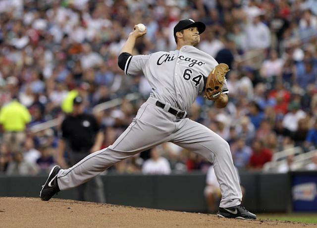 Chicago White Sox pitcher Andre Rienzo throws against the Minnesota Twins in the first inning of a baseball game, Thursday, Aug. 15, 2013, in Minneapolis. (AP Photo/Jim Mone)