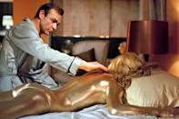 """<p>You don't undermine a bullion-obsessed boss like Auric Goldfinger. Because if you do, chances are you'll end up like Shirley Eaton's Jill Masterson: naked, splayed on a bed covered from head to toe in gold paint, and dead from skin suffocation (which, by the way, can't be a quick death). Poor Masterson didn't stick around long enough to get the same precious screen time in this <a href=""""https://ew.com/tag/sean-connery/"""" rel=""""nofollow noopener"""" target=""""_blank"""" data-ylk=""""slk:Sean Connery"""" class=""""link rapid-noclick-resp"""">Sean Connery</a> classic as Pussy Galore, but her twisted death tableau gave the franchise what's arguably remained its single most visually striking image.</p>"""