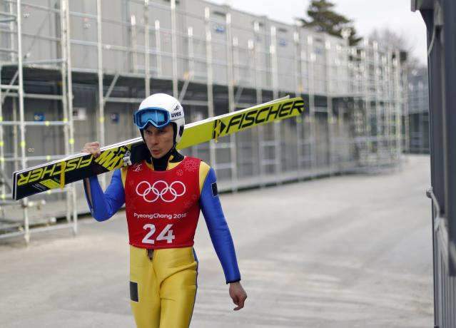 Nordic Combined Events - Pyeongchang 2018 Winter Olympics - Ski Jumping Training - Alpensia Ski Jumping Centre - Pyeongchang, South Korea - February 19, 2018 - Olympic Athlete from Russia Ernest Yahin arrives for training. REUTERS/Dominic Ebenbichler