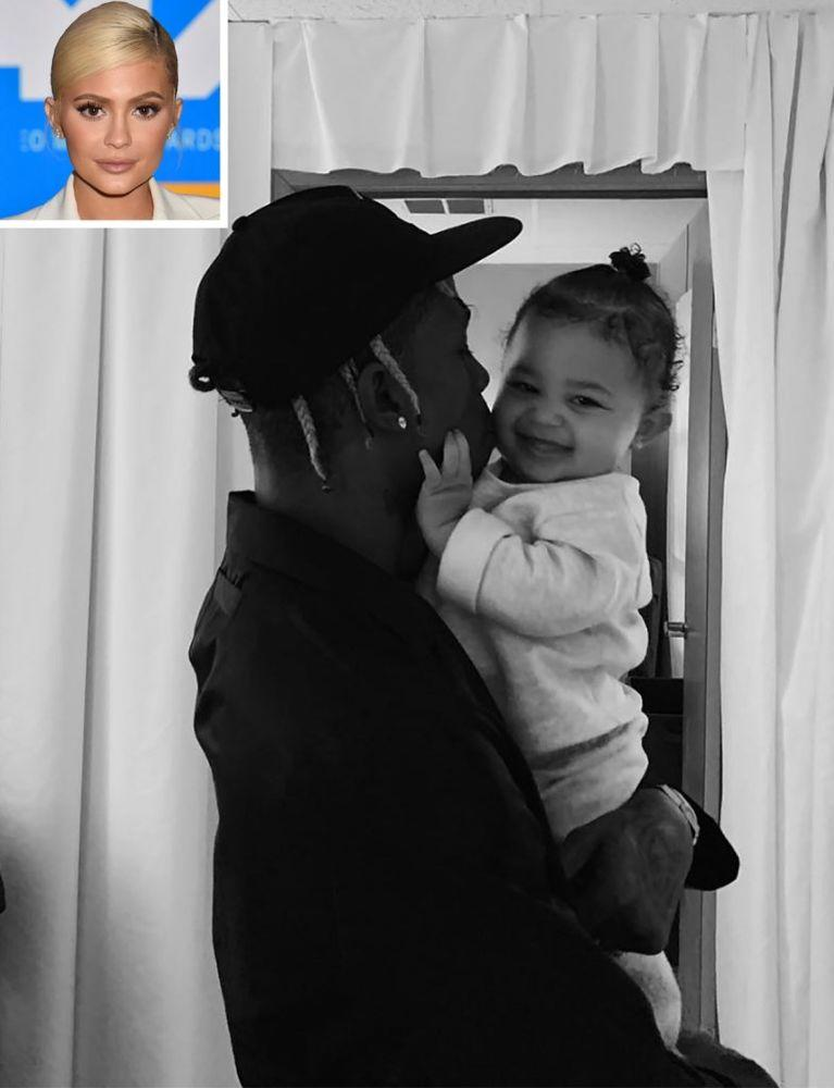 Travis Scott and daughter Stormi; Inset: Kylie Jenner