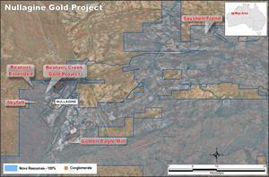 Map showing conglomerate prospects targeted for drilling in 2021.