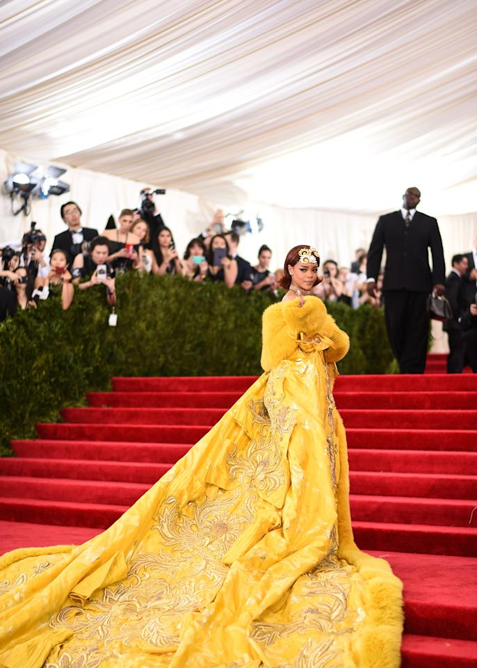 """""""Who else but Rihanna could carry this so effortlessly, despite it weighing 55 pounds? This is a woman who turns it up on every major red carpet she treads, and yet this reached new levels of iconic even for her. It didn't just win the Met Gala on this night; it may have won all the Met Galas of all time, both preemptively and retroactively.""""—Heather Cocks and Jessica Morgan, founders of <a href=""""http://secure-web.cisco.com/1UahBXFeyLcCrPoZWw1jAq5u-Isg0il64Pz5iemZSa5lbeIhNLI5QP92X0qM21-ew4F-V4mS4CjIIM10u3dShVLqUuA7mYZID-aE8s77N5r1-VQNeMo9p66KgUldQE57HUbwbVyDb-5-_twQQYnQ_jGw-o38QdfSNoz4a4hd-PmiW0DGwDPFEB0iaw97RLNNSjz9N1CK9I26DilZMDVGfrQ4tUCvmoqMAd1nqzPklc4gvI5oL25glbqDhKK-nKZ6QDyn8aaVKGEN0Ek4rNxuC3n-_mKXFvkfE2Nam8Hz6E9w8G-riloz8XNxFm5UjI_Xa6mTUIbyaEXpwoZ2fthvK-Xbf_MuLCSOhq4GRIYDB8wE/http%3A%2F%2FGoFugYourself.com"""" target=""""_blank"""">GoFugYourself.com</a>"""