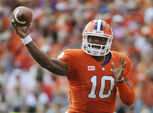 Clemson quarterback Tajh Boyd (10) throws during the first half of an NCAA college football game against Wake Forest, Saturday, Sept. 28, 2013, in Clemson, S.C. (AP Photo/Rainier Ehrhardt)