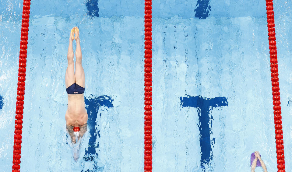 Adam Peaty trains in the Tokyo Aquatics Centre ahead of his bid to become the first Brit to retain an Olympic swimming title