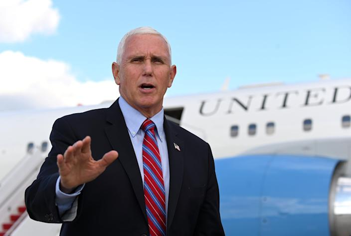 <p>Mike Pence has tried to blame Biden for the ongoing violence in Gaza</p> (Reuters)