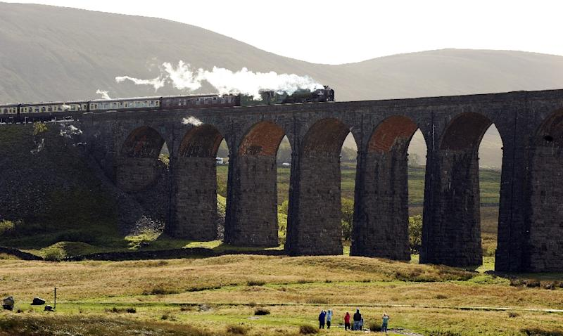 The Peppercorn Class A1 60163 Tornado steam train travels over the Ribblehead Viaduct in Ribblehead, nortern England, for the first time on October 3, 2009