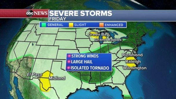 PHOTO: Severe storms are possible in western Texas, the Great Lakes and the Carolinas on Friday. (ABC News)