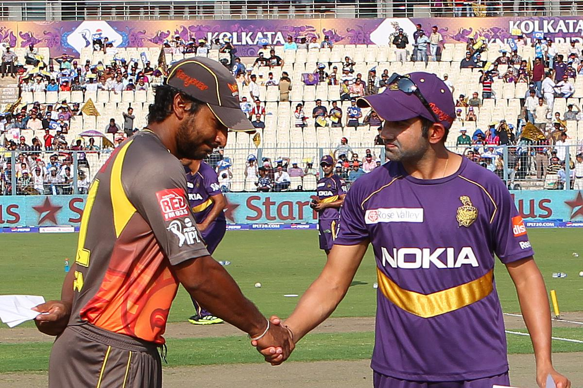 Kumar Sangakkara and Gautam Gambhir shake hands after the toss during match 17 of the Pepsi Indian Premier League between The Kolkata Knight Riders and the Sunrisers Hyderabad held at the Eden Gardens Stadium in Kolkata on the 14th April 2013..Photo by Ron Gaunt-IPL-SPORTZPICS  ..Use of this image is subject to the terms and conditions as outlined by the BCCI. These terms can be found by following this link:..https://ec.yimg.com/ec?url=http%3a%2f%2fwww.sportzpics.co.za%2fimage%2fI0000SoRagM2cIEc&t=1506030165&sig=JCCba6o9yQQEYhXwjKpfVQ--~D