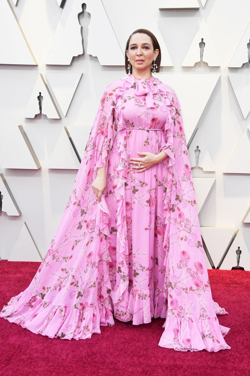 <p>Wearing a Giambattista Valli gown with Stuart Weitzman shoes and Irene Neuwirth jewels.</p>