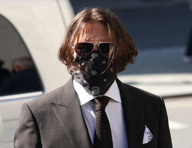 Actor Johnny Depp arriving at the High Court in London