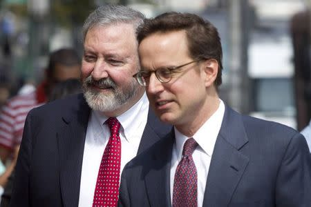 Attorneys Jonathan Blackman and Carmine Boccuzzi, lead lawyers representing Argentina in its ongoing debt talks, arrive at federal court for a hearing in New York
