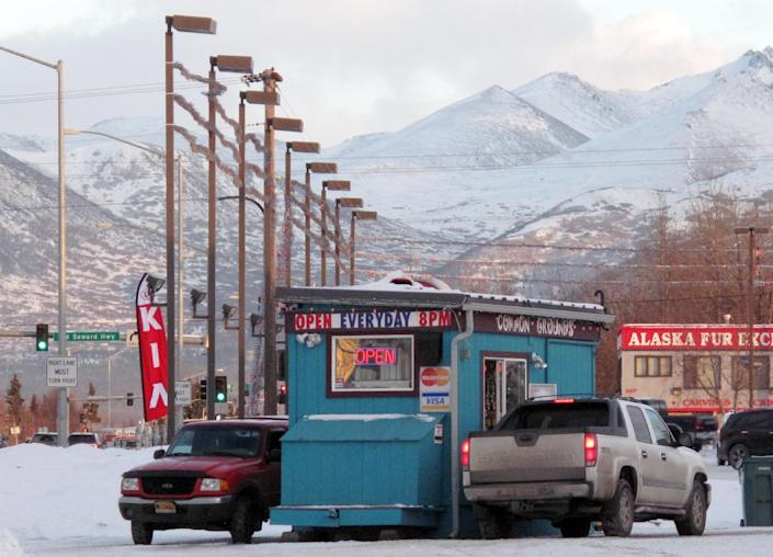 FILE -The Common Grounds coffee hut is seen on Wednesday, Jan. 23, 2013 in Anchorage, Alaska. The Common Grounds is the location where barista Samantha Koenig was kidnapped by Israel Keyes on Feb. 1, 2012. Keyes showed no remorse as he detailed how he'd abducted and killed an 18-year-old woman, then demanded ransom, pretending she was alive. His confession cracked the case, but prosecutors questioning him soon realized there was more, he has killed before. Before divulging more details, Keyes committed suicide in his cell. (AP Photo/Rachel D'Oro)