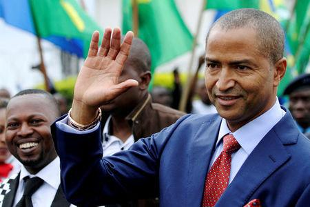 FILE PHOTO: Moise Katumbi, governor of Democratic Republic of Congo's mineral-rich Katanga province, arrives for a two-day mineral conference in Goma, Democratic Republic of Congo March 24, 2014. REUTERS/Kenny Katombe/File Photo