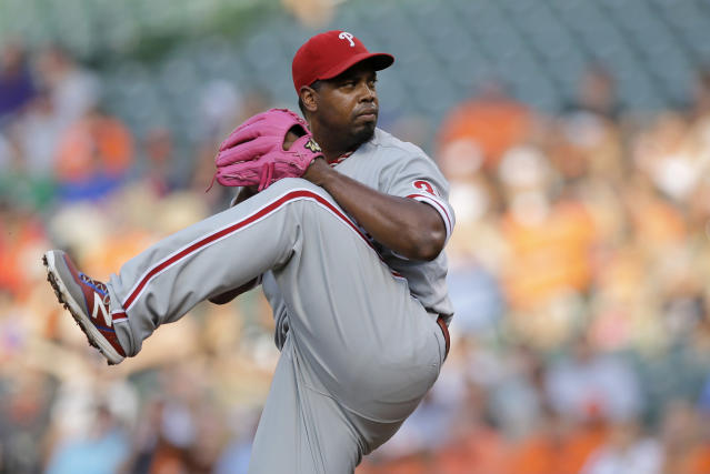 Philadelphia Phillies starting pitcher Jerome Williams throws to the Baltimore Orioles in the first inning of an interleague baseball game, Tuesday, June 16, 2015, in Baltimore. (AP Photo/Patrick Semansky)