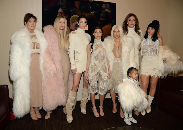 Caitlyn Jenner's relationship with the rest of the Kardashians, with whom she was pictured here in 2016, has been … komplicated. (Photo: Getty Images)
