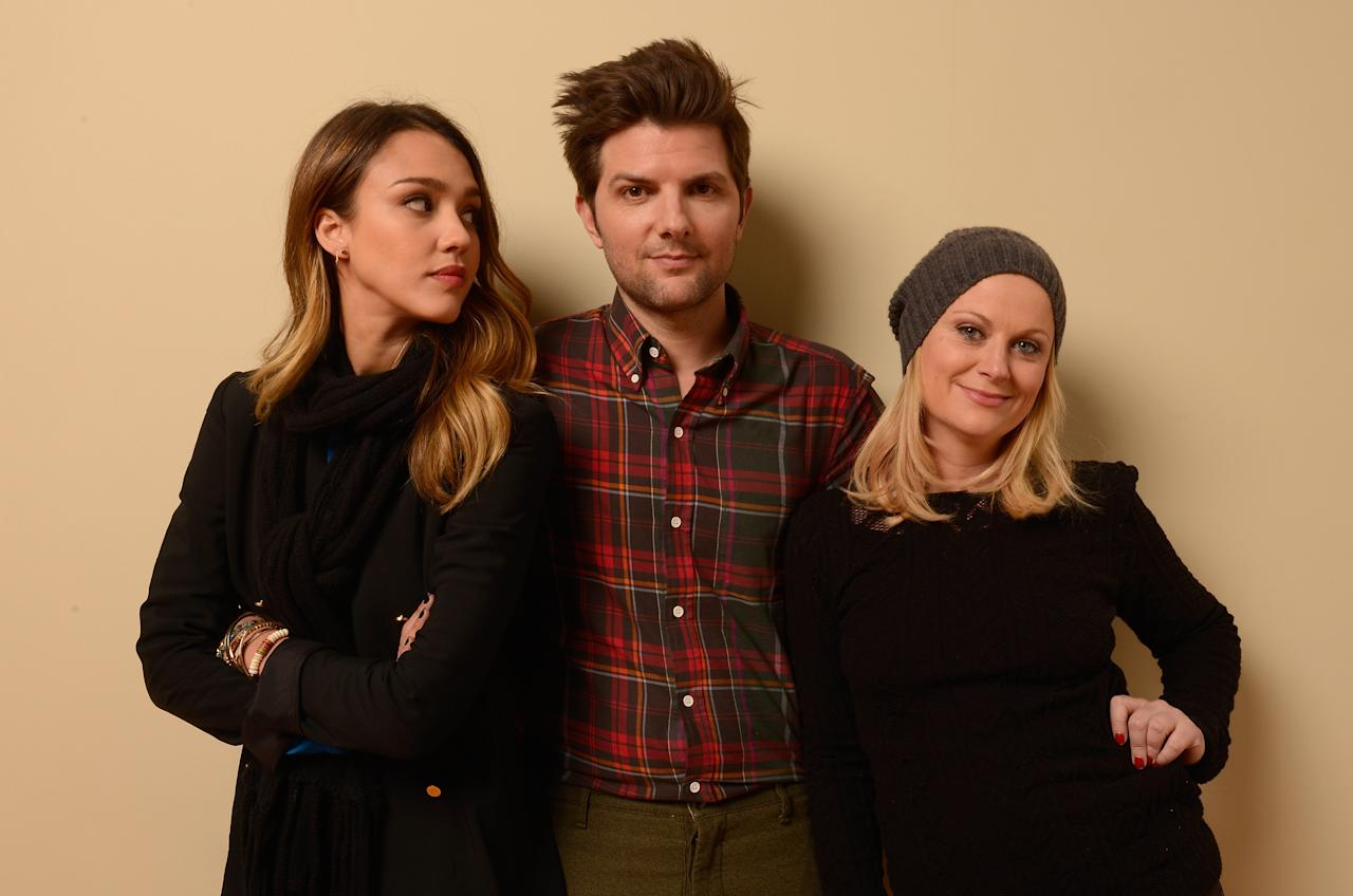 PARK CITY, UT - JANUARY 23:  (L-R) Actors Jessica Alba, Adam Scott and Amy Poehler pose for a portrait during the 2013 Sundance Film Festival at the Getty Images Portrait Studio at Village at the Lift on January 23, 2013 in Park City, Utah.  (Photo by Larry Busacca/Getty Images)