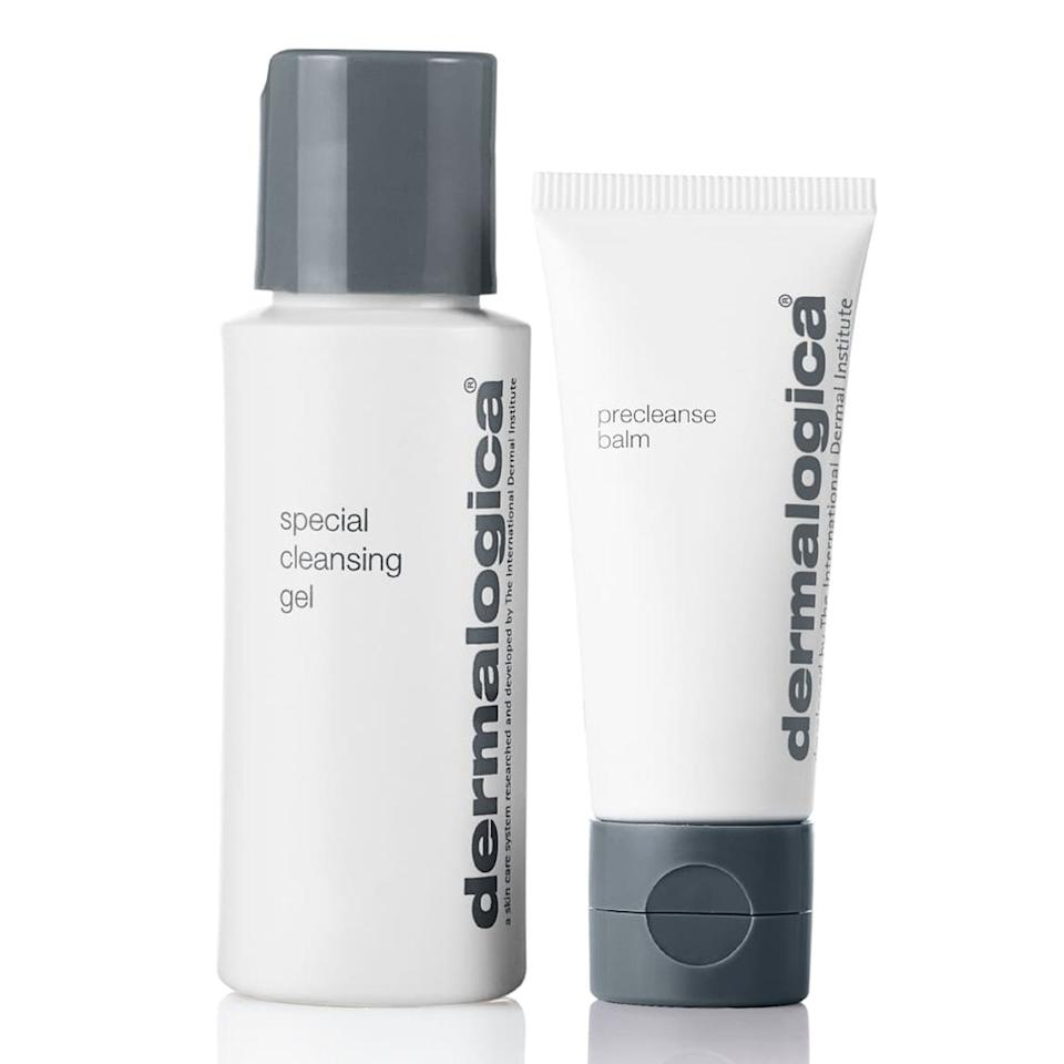 """<p>This holiday kit will get you two of Dermalogica's fan-favorite facial cleaners — the Special Cleansing Gel and the Precleanse Balm — for a cool $10. Use the balm to remove your makeup before slathering on the gel cleanser to nix excess dirt and oils. It's an easy way for skin-care beginners to learn the art of the <a href=""""https://www.allure.com/story/what-is-double-cleansing?mbid=synd_yahoo_rss"""">double cleanse</a>.</p> <p><strong>$10</strong> (<a href=""""https://shop-links.co/1690185697344017229"""" rel=""""nofollow"""">Shop Now</a>)</p>"""